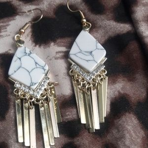 Jewelry - Stone marble and gold earrings